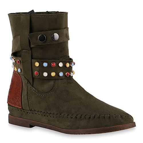 Damen Schuhe Ethno Boots Stiefeletten Mokassin Stiefel Schlupfstiefel 144036 Dunkelgrün Ethno 36 Flandell