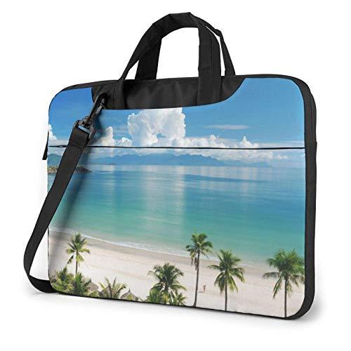 Bolso de Hombro Impreso para computadora portátil de Playa y Palmera, maletín de Bolso de Mensajero de Negocios de Bolso de computadora portátil
