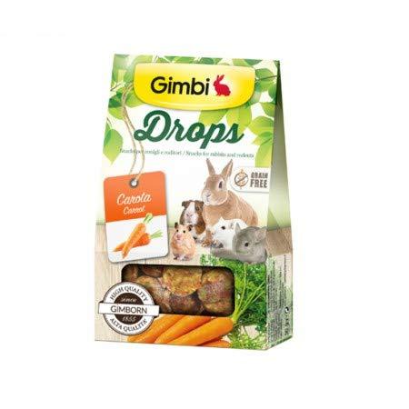 Gimbi Drops con zanahoria Snack para roedores sin cereales, 50 g