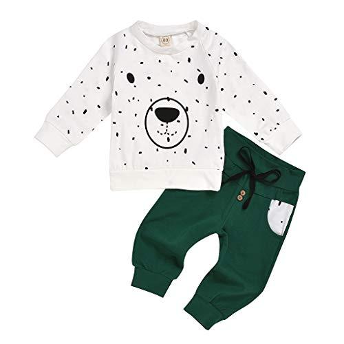 Xmiral Baby Jungen Cartoon Bär Tops + Hosen Outfits Set Langarm Hemd Hosen Kleinkind Kinder Kleidung Set(Weiß,6-12 Monate)
