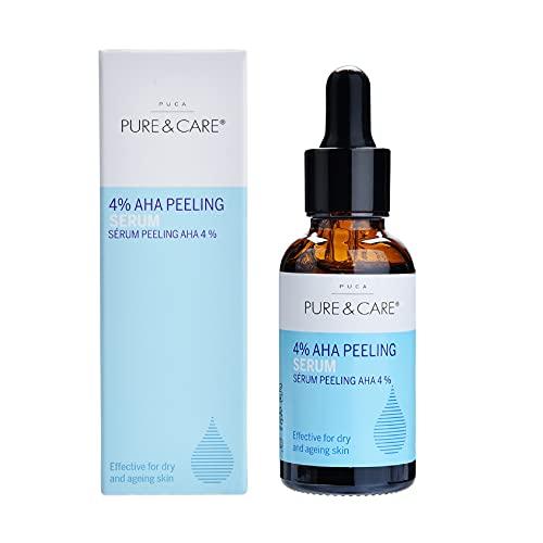 PUCA PURE & CARE | 4% AHA Peeling Serum | 30ml | Glättet Falten und Verkleinert große Poren im Gesicht | Glycolsäure, Schneckenschleim, Hamamelis, Blumen- und Pflanzenextrakte | Für alle Hauttypen
