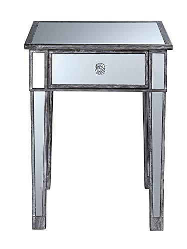 Convenience Concepts Gold Coast Mirrored End Table with Drawer, Weathered Gray