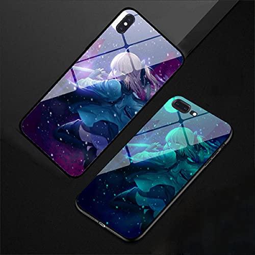 Resplandor Nocturno de Anime Funda para Teléfono con Cordón Funda Protectora para iPhone Carcasa de Vidrio Templado Antifricción Fate Series Cool (Compatible con iPhone 7)