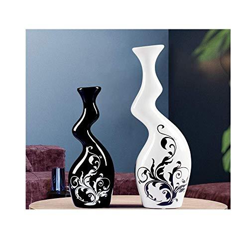 Yeeseu Estatuas decoración del hogar individual cerámica artesanía creativa decoración de la sala de estar gabinete del vino extranjero Pareja de flores del florero Arrangementbig blanco y negro peque
