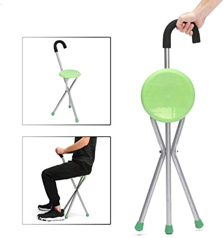 AdvancedShop Camping Folding Tripod Cane Walking Stick Seat Portable Stool Chair Max Load Bearing 130kg