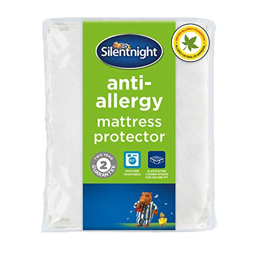 Silentnight Anti-Allergy,Mattress Protector, Microfibre, White, Single, Anti - Bacterial Mattress protector