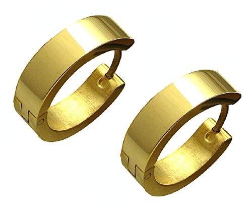Kikuchi dames heren oorbellen titanium staafjes roestvrij staal creolen oorbellen oorbellen goud glanzend 18 mm Ø ERTS006