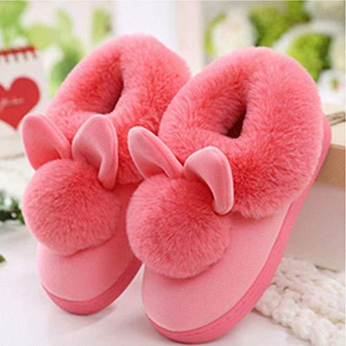SLM-max Zapatillas Unisex,Inicio de Interior Zapatos Calientes Mujer de Felpa Bonitas y cómodas Otoño Invierno de algodón Oreja de Conejo, Rojo-38-39