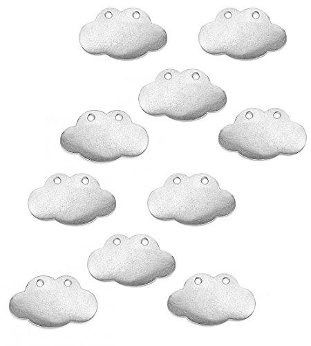 "ImpressArt - Pewter Stamping Blanks, 10-pack Cloud Shape, 1 1/4"" x 3/4"""