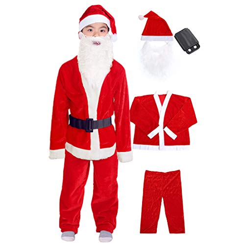 Boys Santa Costume Santa Claus Costume for Boys Child Santa Suit Christmas Costume Party Suit for Boys 5-9 Years