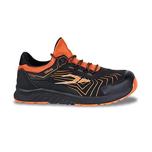 Beta 7352A Schuhe 0-Gravity, Arbeitsschuhe (Größe 43, Ultraleicht, aus Mesh-Gewebe, hoch atmungsaktiv, mit Zehenschutzkappe 200 Joule, Zwischensohle aus Eva), Schwarz/Orange, EU