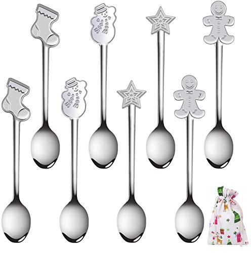 SLKIJDHFB Set di 8 cucchiaio da caffè di natalizi, acciaio inossidabile Gelato Zucchero Cucchiaio cucchiaino da tè per mescolare