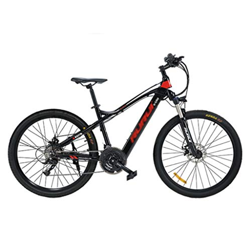 FFF-HAT 27.5-inch Stealth Lithium Battery Electric Mountain Bike 21-speed Variable-speed Long-distance Off-road Bicycle Shock Absorption and Comfort-Red Start Version