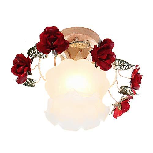 TPU Rote Rose Deckenlampe Handwerk Keramik Schmiedeeisen Kronleuchter Garten Rose Blume Pendelleuchte mit grünem Blatt Lampenschirm, E27 Birne