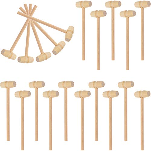 LOCOLO 30 piezas Mini martillo de madera mazo golpeando juguete gavel juguetes para niños de madera cangrejo langosta mazos sólida de madera natural de cangrejo martillo para cracking chocolate