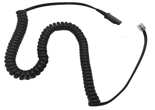 AvimaBasics Amplifier Coil Cord to QD Modular Plug | Stretchable, Durable, Quick Connect & Disconnect Grips & Ergonomic Cable | for H-Series Headsets, for Cisco 7900 Series Phones - 26716-01