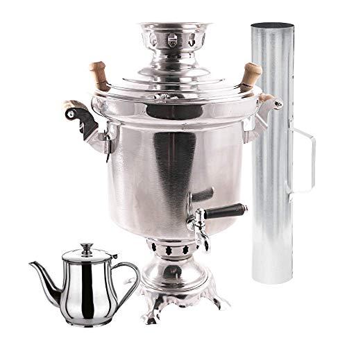 Smak | Russische Holzkohle Samowar | 5 Liter | Teekocher | Teekanne | Wasserkocher | Massives Edelstahl