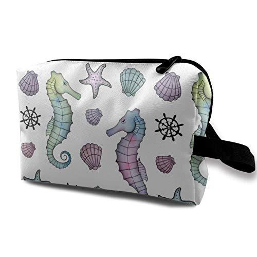 XCNGG Unisex Make-up Taschen Mehrzweck-Kulturbeutel Exquisite Kosmetiktasche Sea Horse Seashell Anchor