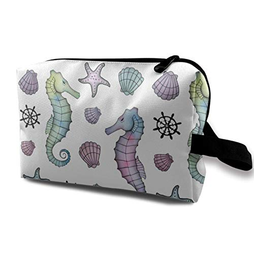 XCNGG Unisex Make-up Taschen Mehrzweck-Kulturbeutel Exquisite Kosmetiktasche Sea Horse Seashell Anchor