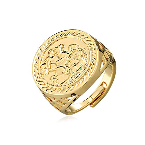 The Bling King Adjustable St. George Sovereign Ring Chunky Men's Heavy Real Gold Plating