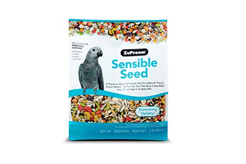 ZuPreem Sensible Seed Bird Food for Parrots & Conures - Premium Blend of Seeds, FruitBlend Pellets for Caiques, African Greys, Senegals, Amazons, Eclectus, Small Cockatoos (2 lb Bag)