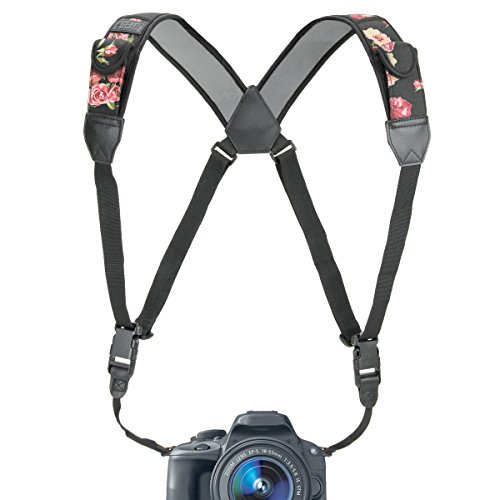 USA Gear DSLR Camera Strap Chest Harness with Quick Release Buckles, Floral Neoprene Pattern and Accessory Pockets - Compatible with Canon, Nikon, Sony and More Point and Shoot, Mirrorless Cameras