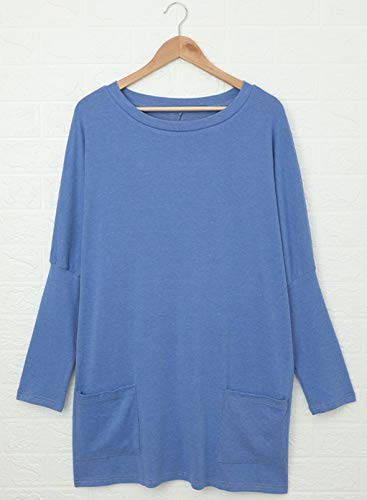Asvivid Womens Fashion Plain Round Neck Ladies Long Pullover Soft Autumn Shirt Bloues Tunic Tops with Pockets S Blue