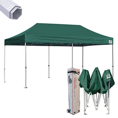 Eurmax Premium 10 x 20 EZ Pop up Canopy Tent Wedding Party Canopies Gazebo Shade Shelter Commercial Grade Bonus Wheeled Bag (Forest Green)