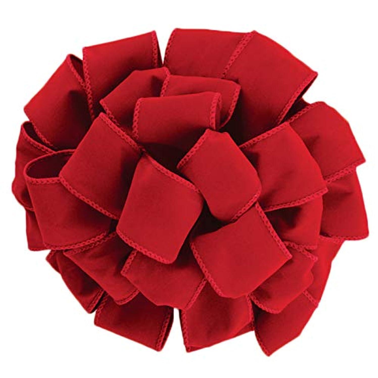 Wired Red Velvet Christmas Ribbon 2 1/2