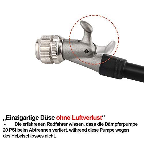 GIYO Hochdruck Dämpferpumpe, max. 300 PSI Federgabel & Heckfederung, Hebelschloss an Düse ohne Luftverlust - 4