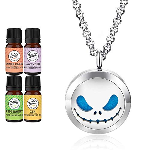 Wild Essentials Jack Skullington Essential Oil Diffuser Necklace Gift Set Aromatherapy Pendant, 24' Stainless Steel Chain, Refill Pads and 100% Pure Oils (Lavender, Peppermint, Inner Calm and Zen)