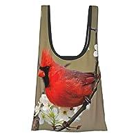 ナシの木の花、ケンタッキーの間で男性の北の赤い鳥 ショッピングバッグ エコバッグ コンビニバッグ 買い物バッグ 折りたたみ 大容量 防水素材 軽量 買い物袋 収納 水や汚れにも強い コンパクト