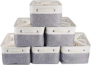 Boîte de rangement en Toile 6 Pack, Panier de Stockage de Tissu Jumbo avec poignées et Cordon fermé pour armoires LUXingYu...