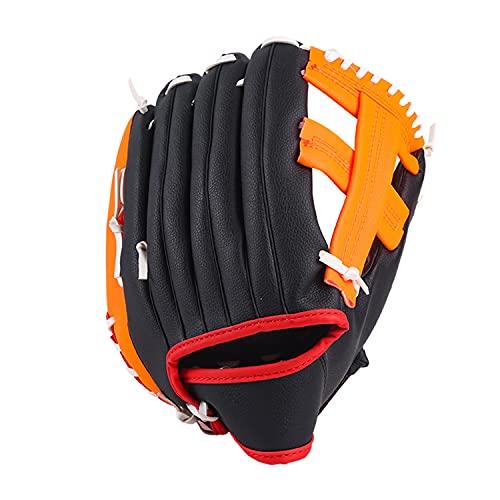 TCYYNEK Guantes de béisbol deportivos de bateo con suave cuero sintético sólido engrosamiento jarra Softball guantes 10.5 11.5 12.5 pulgadas para jóvenes adultos zurdos guantes (naranja, 30.5 cm)
