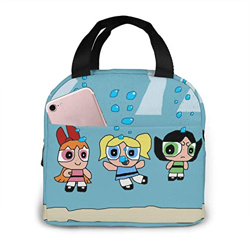 Portable Lunch Bag Powerpuff Girls Diving Reusable Insulated Lunch Bag Cooler Tote Box with Front Pocket Zipper Closure for Woman Man Work