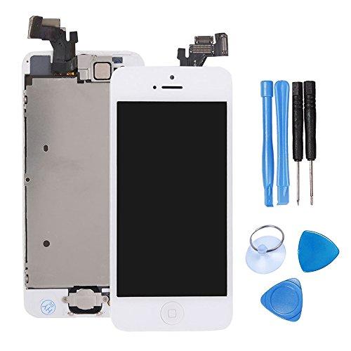 ibaye Reparatur/Ersatz-Glas für iPhone 5/5G LCD-Display. Touchscreen Digitalisierer. Glas-Objektiv mit Kamera und Home-Tasten-Montage, mit Werkzeugen, 5,7 Zoll