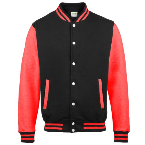 Awdis Unisex Varsity Jacket (S) (Jet Black/ Fire Red)