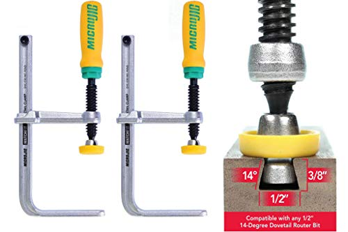 Photo of MICRO JIG DVC-538K2 MATCHFIT Dovetail Clamps with Soft-Grip Handle, Yellow/Green