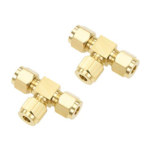 uxcell Brass Compression Tube Fitting 6mm OD Tee Pipe Adapter for Water Garden Irrigation System 2pcs