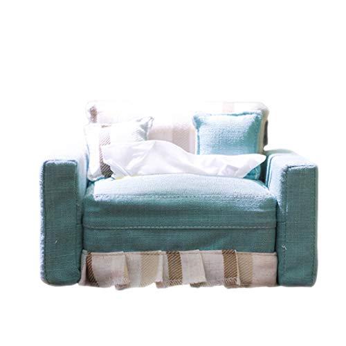 WarmHome Stoffa Scatola di fazzoletti Creativo Forma del Divano Cuscino Porta Cellulare Blu rettangolo Scatola di immagazzinaggio Soggiorno Ristorante 16.5 * 12 * 8,5 Centimetri