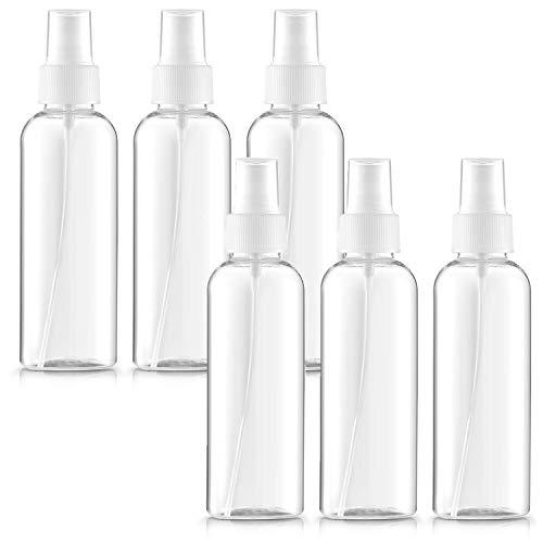 spray botellas,bote spray plastico,atomizador niebla fina,bote spray transparente,pulverizador,atomizador de viaje,botellas de viaje vacio (100ML 6 piezas)
