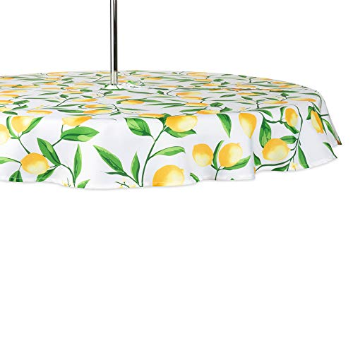 DII CAMZ11291 Spring & Summer Outdoor Tablecloth, Spill Proof and Waterproof with Zipper and Umbrella Hole, Host Backyard Parties, BBQs, Family Gatherings - (Seats 2 to 4), 60' Round w, Lemon Bliss