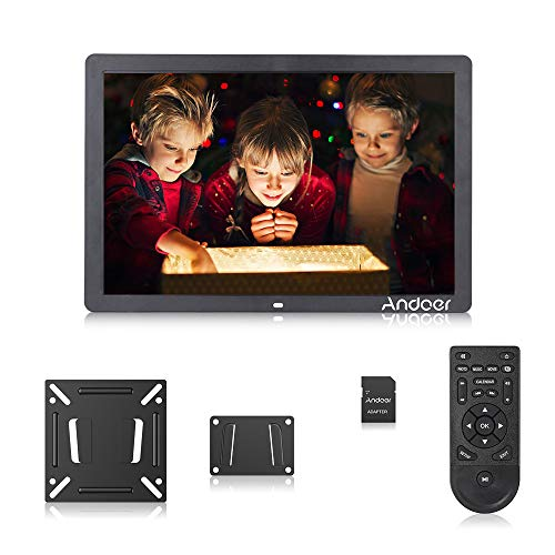 Andoer 17 Inch Digital Picture Photo Frame 16:9 IPS Screen with 1920X1080 Resolution Include 8GB SD Card Support Video, USB and SD Card Slots, Calendar, Background Music