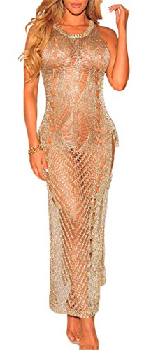Women's Sexy Crew Neck Woolen Sweater Maxi Dress Bikini Swimsuit Cover-ups Tops Semi-Sheer Cover Up Gold M