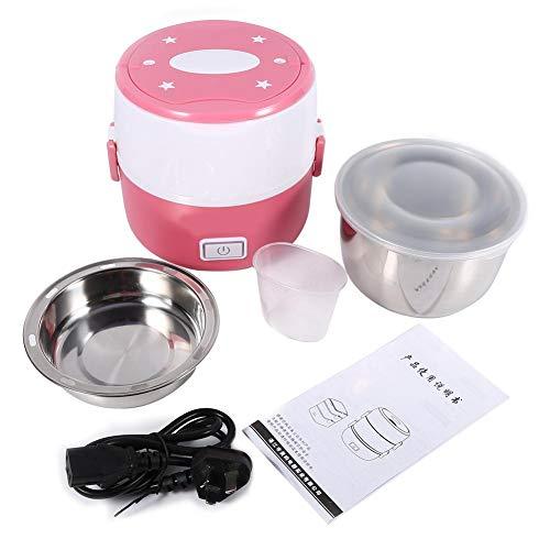 Lunch Box elettrico, 220V 2 strati in acciaio inossidabile Pranzo riscaldato elettrico Set scaldavivande multifunzione per scuola, ufficio o campeggio(Rosa)