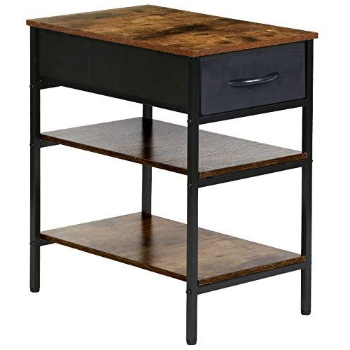 Kamiler Vintage Nachttisch Beistelltisch Telefontisch mit Schublade und 2 Ablage, für Büro oder Schlafzimmer, Akzentmöbel in Holzoptik mit stabilem Metallrahmen für Wohnzimmer, Flur, Küche