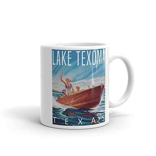 N\A Taza de café del Lago Texoma Vintage Lake Resort Souvenir Texas Canotaje Wakeboard Pesca Camping