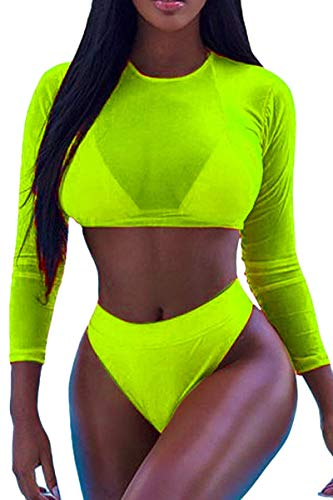 Meyeeka Long Sleeve Rash Guard Crop Top High Waist Bikini Sets Swimsuit for Women L Lemon Green