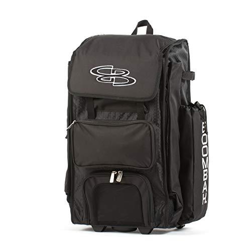 Boombah Rolling Catchers Superpack 2.0 Baseball/Softball Gear Bag – 23-1/2″ x 13-1/2″ x 9-1/2″ – Black – Telescopic Handle – Holds 4 Bats – Wheeled Version