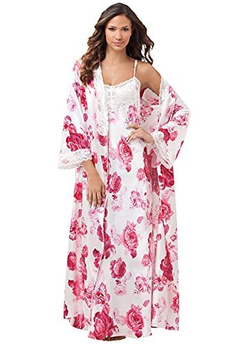 Amoureuse Women's Plus Size The Luxe Satin Long Peignoir Set Pajamas - 4X, Ivory Roses Beige